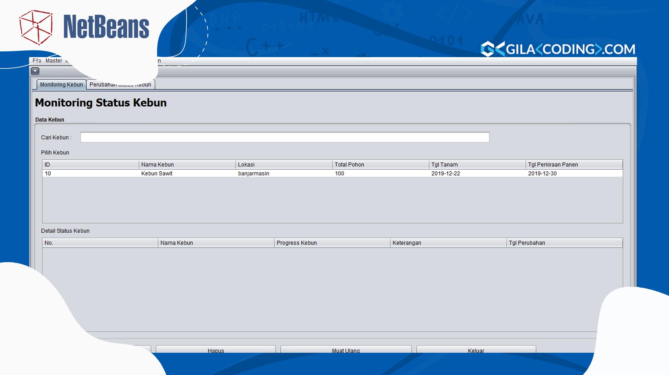 Aplikasi Monitoring Sawit dengan Java Netbeans